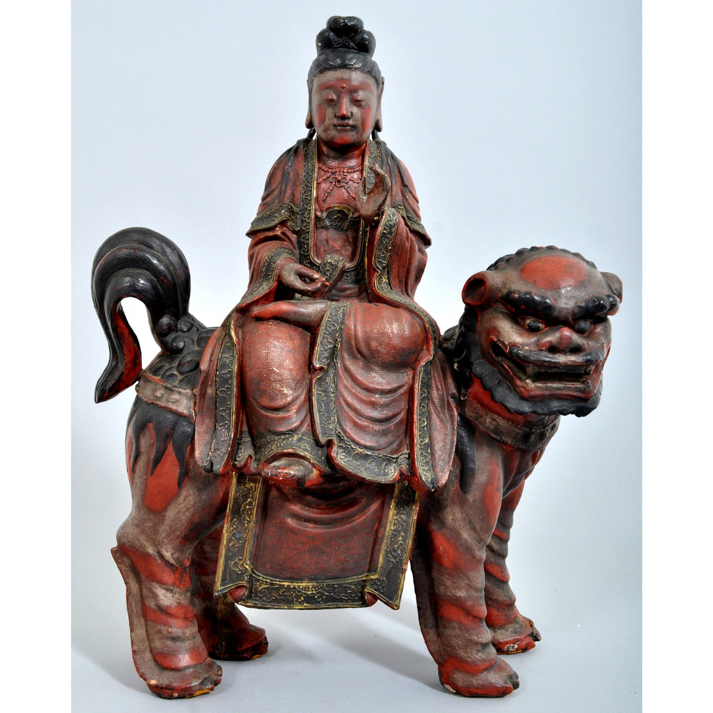 Antique Chinese Buddha Deity Foo Dog Statue/Sculpture, Circa 1850