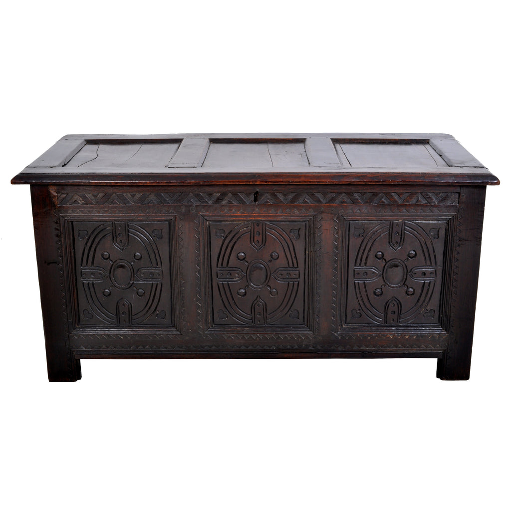 Antique Charles II Carved Oak Coffer / Chest / Trunk, circa 1670