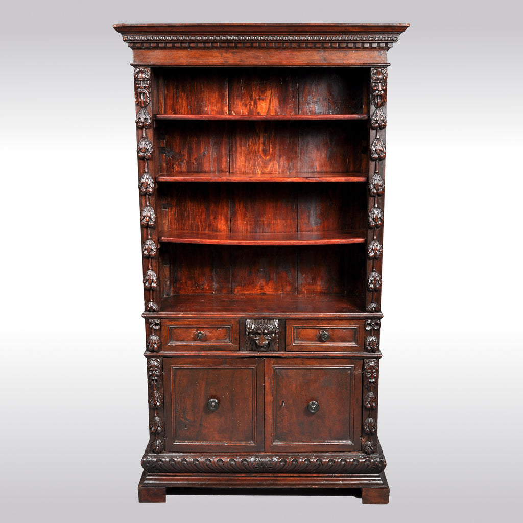 Antique Italian Carved Walnut Renaissance Revival Bookcase, circa 1870