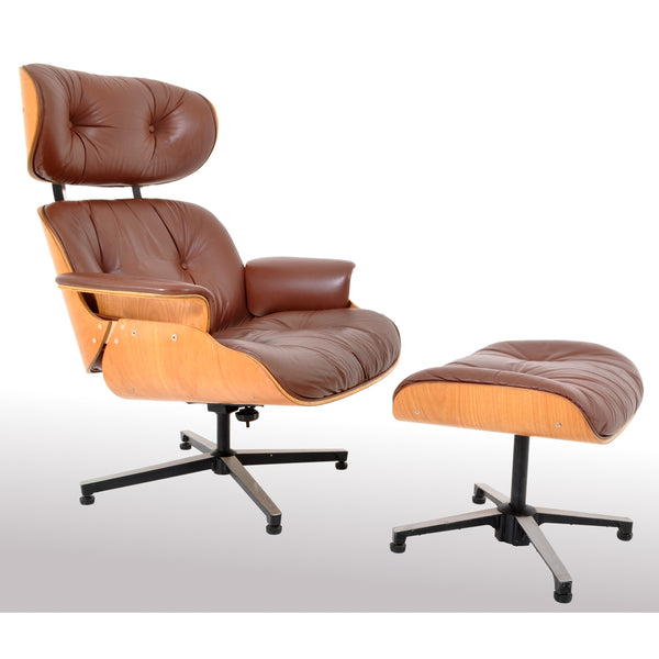 Mid-Century Modern Plycraft Eames 670/71 Lounge Chair / Recliner and Ottoman, 1960s