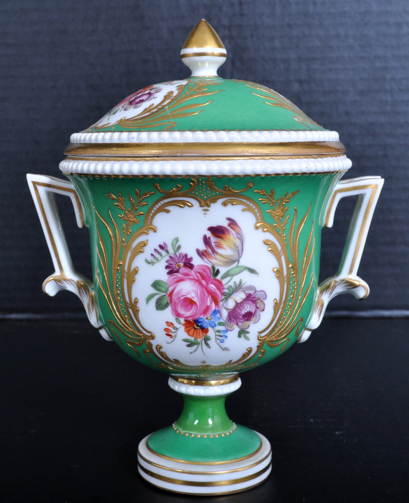 Antique German Dresden Porcelain Lidded Urn, Circa 1880