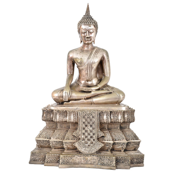 Large Antique 19th Century Tibetan Silver Gilt Bronze Buddha Statue / Sculpture, circa 1850