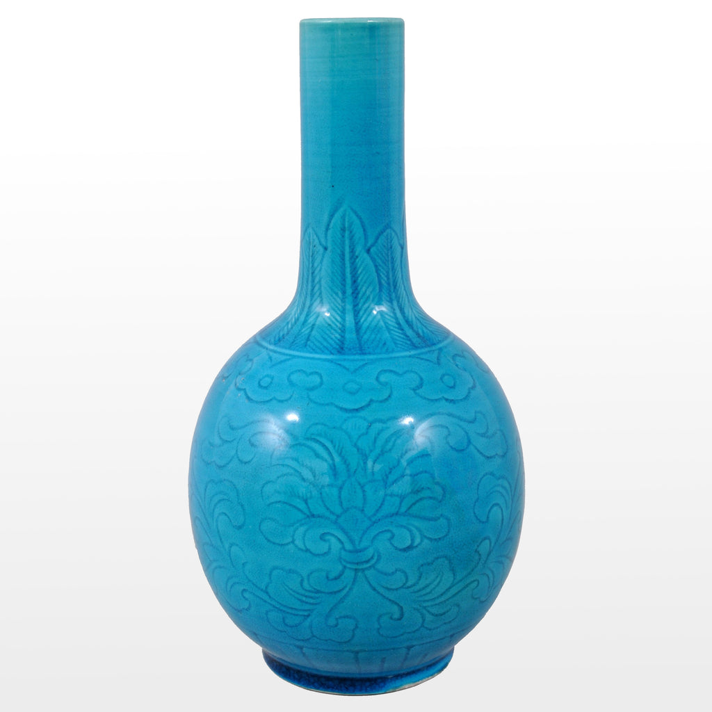 Antique 19th Century Chinese Qing Dynasty Blue Glazed Kangxi Style Stem Vase, Circa 1850