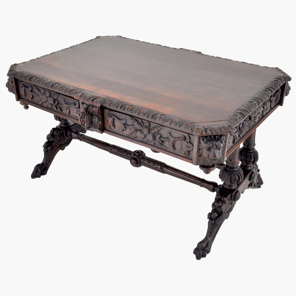 Antique 19th Century French Carved Oak Library Table, Circa 1860