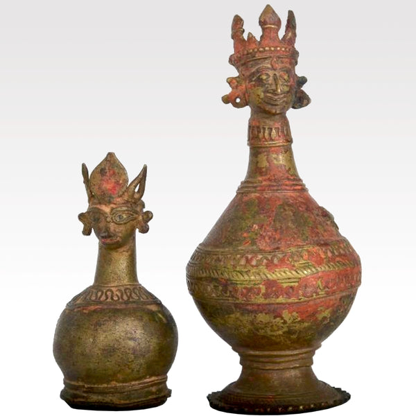 Two Early 7th Century Persian Sasanian (Sasanid) Bronze Flasks