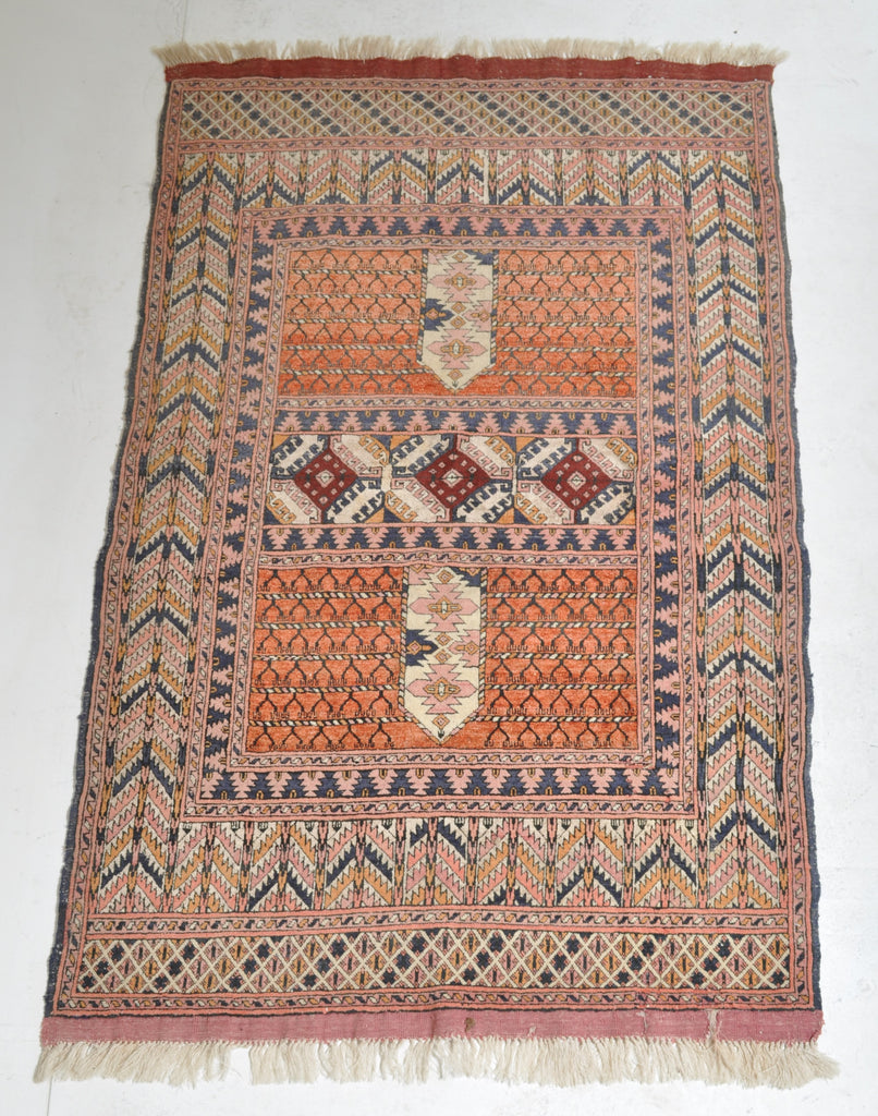 Antique Turkoman Tekke Hatchli Silk and Wool Rug, Circa 1920
