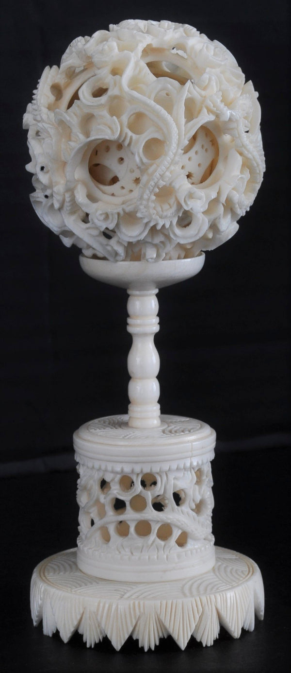 Antique Chinese Qing Dynasty Canton Carved Ivory Puzzle Ball & Stand, Circa 1880