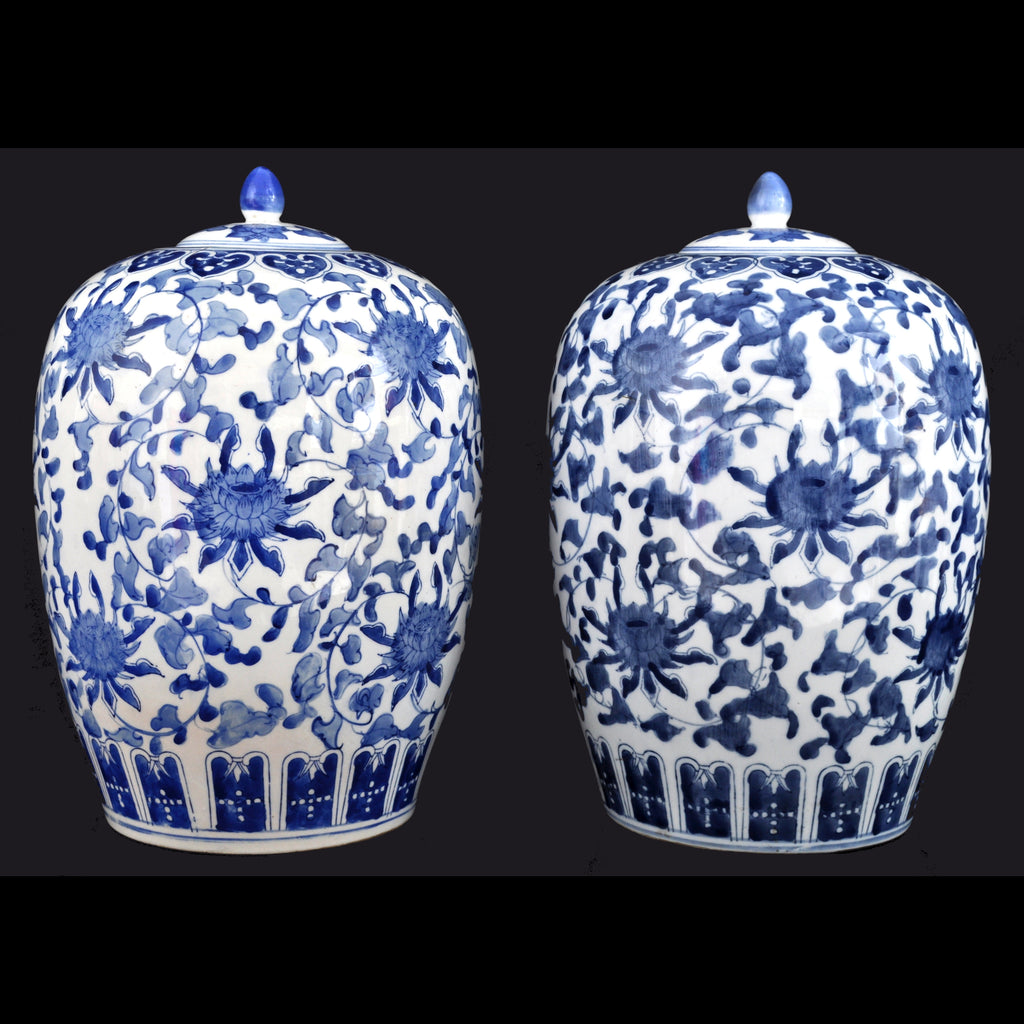 Pair of Antique Chinese Qing Dynasty Blue and White Porcelain Melon Jars, circa 1900