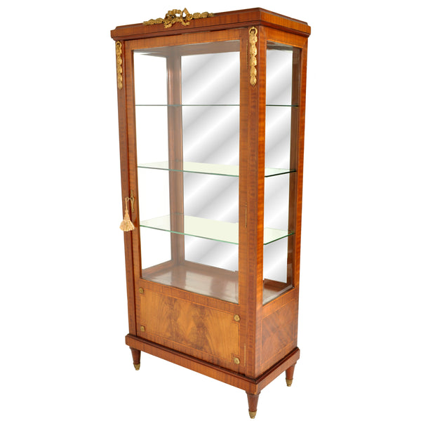 Antique French Louis XVI Inlaid Walnut Vitrine / Bibliotheque / Bookcase, circa 1890