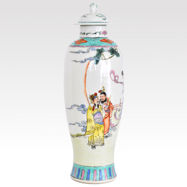 Antique Chinese Qing Dynasty Imperial Famille Verte Porcelain Vase with Cover, Circa 1880