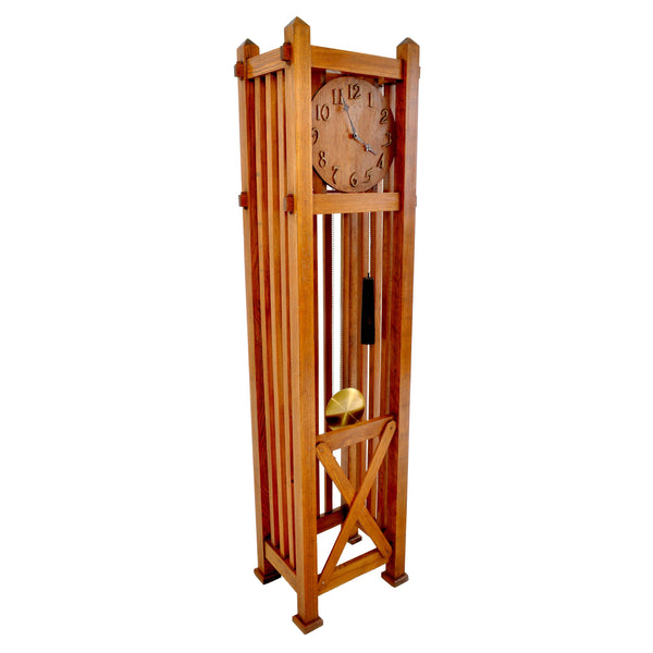 Antique American Mission Arts & Crafts Oak 8-Day Grandfather Tall Case Clock, Circa 1900