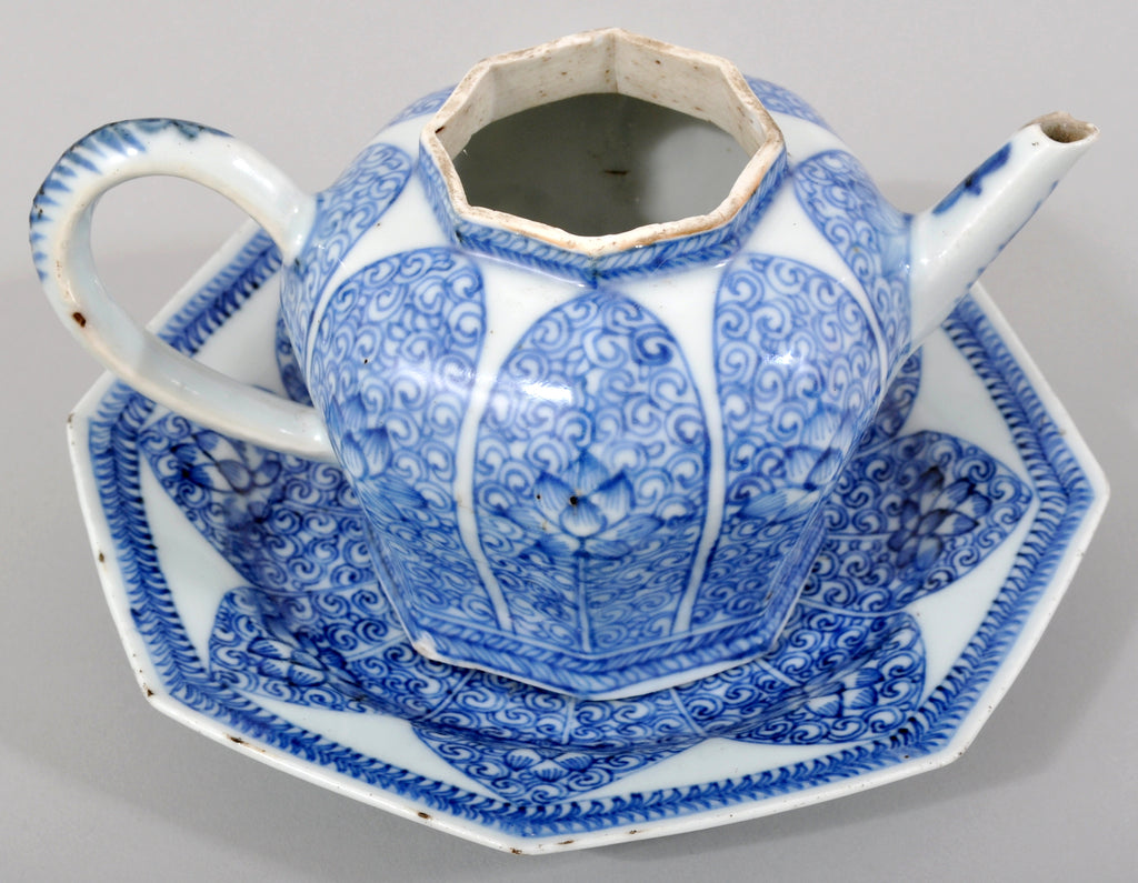 Antique 17th Century Chinese Kangxi Period Blue and White Teapot and Stand in the Islamic Style, circa 1650