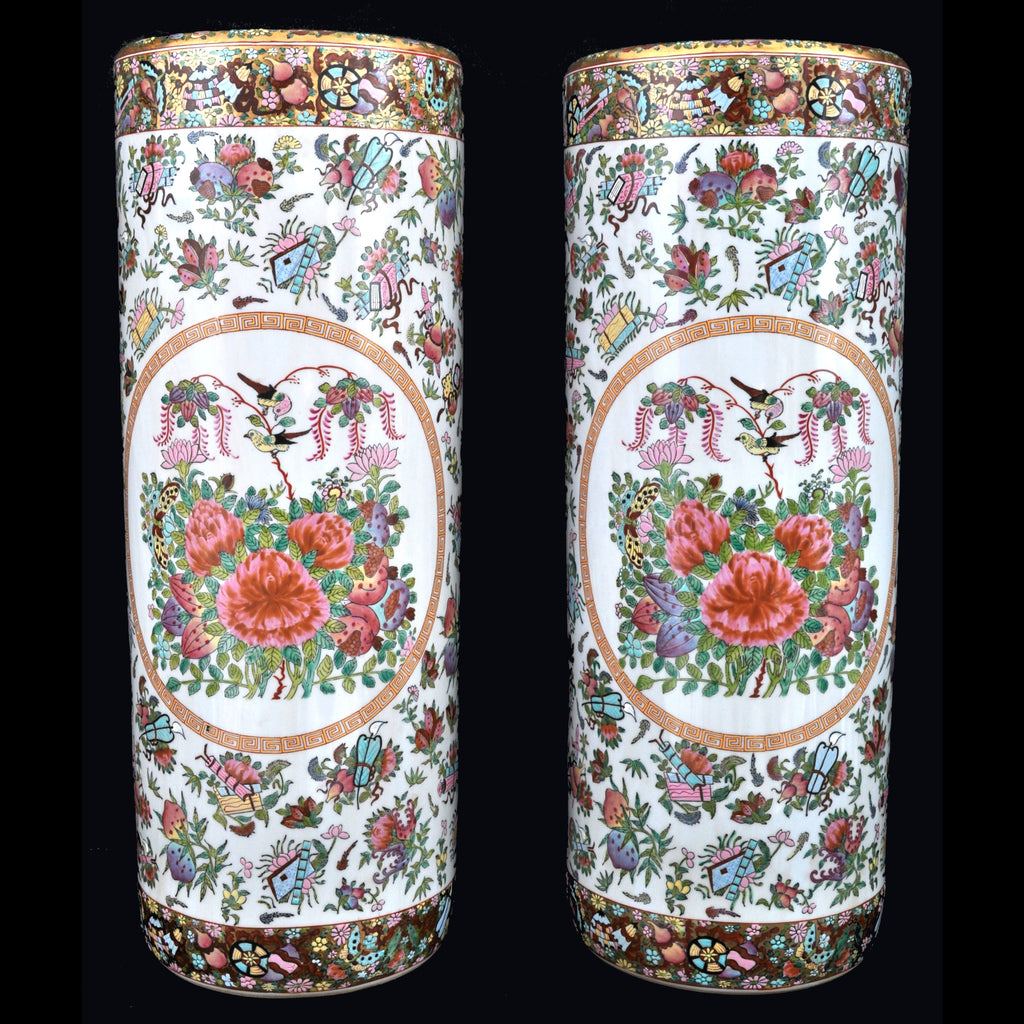 Pair of Antique Chinese Famille Rose Porcelain Umbrella Stands, circa 1920