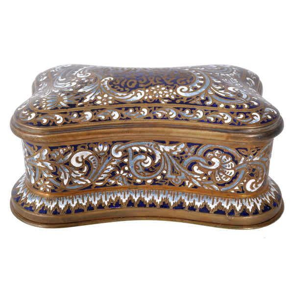 Antique French Champlevé Enamel and Bronze Box, circa 1890