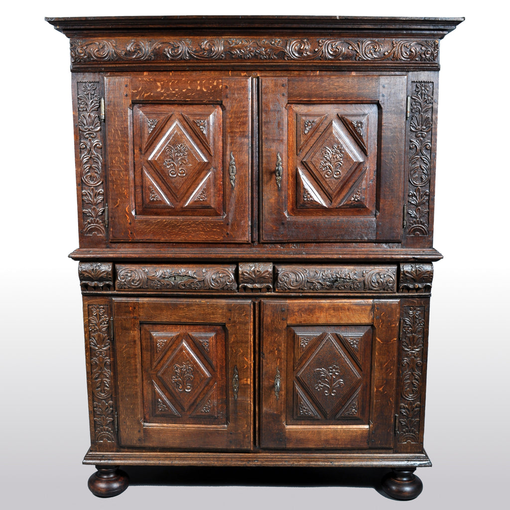 Antique French Baroque Carved Oak Court Cabinet, circa 1750