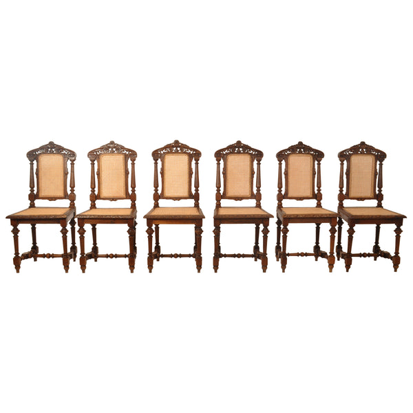 Set of Six Antique French Provincial Henri II Carved Oak & Caned Dining Chairs, circa 1880