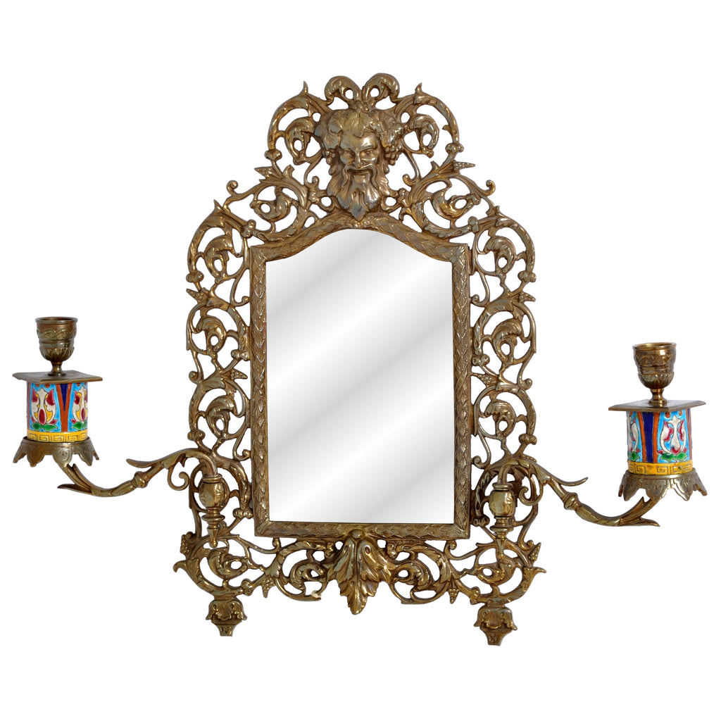 Antique Neoclassical French Brass Wall Mirror with Candle Sconces, circa 1890