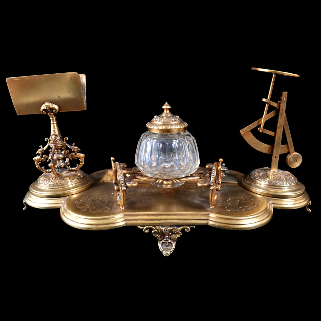 Fine Antique Rococo Brass Desk/Writing Set with Postal Scale, Finland 1891