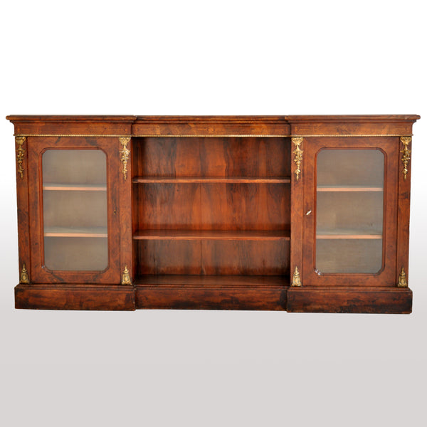 Antique English Burl Walnut Long Inlaid Ormolu Bookcase / Buffet / Sideboard, circa 1870