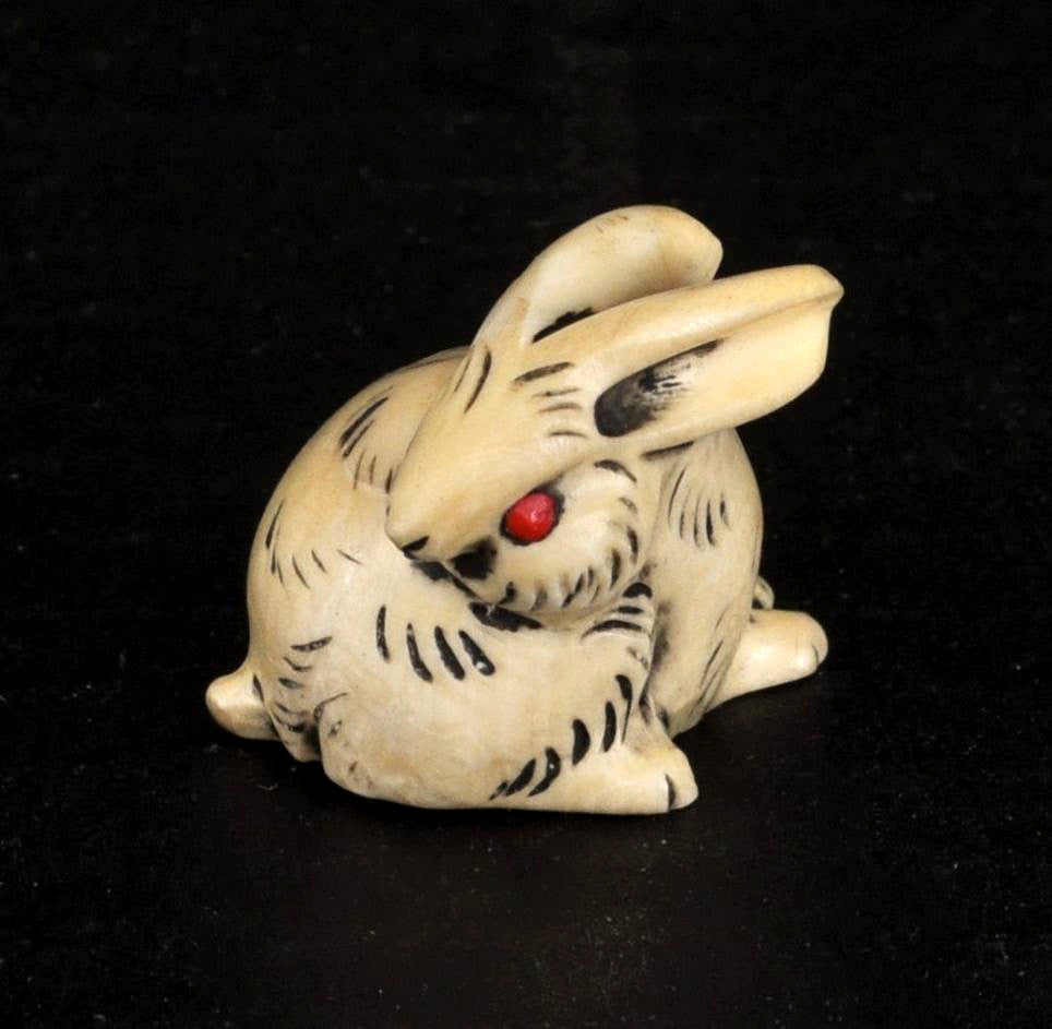 Antique Japanese Meiji Period Carved Ivory Hare/Rabbit Netsuke, Circa 1850
