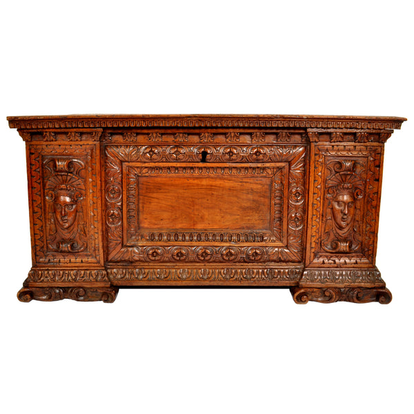 Antique 17th Century Italian Baroque Carved Walnut Cassone / Coffer / Chest, circa 1680
