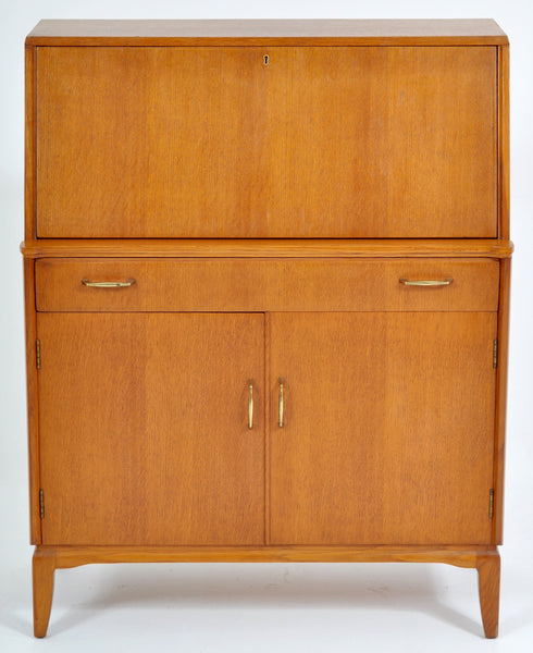 Mid-Century Modern Danish Style Teak Secretary Desk/Cabinet by Lebus Furniture, 1960s