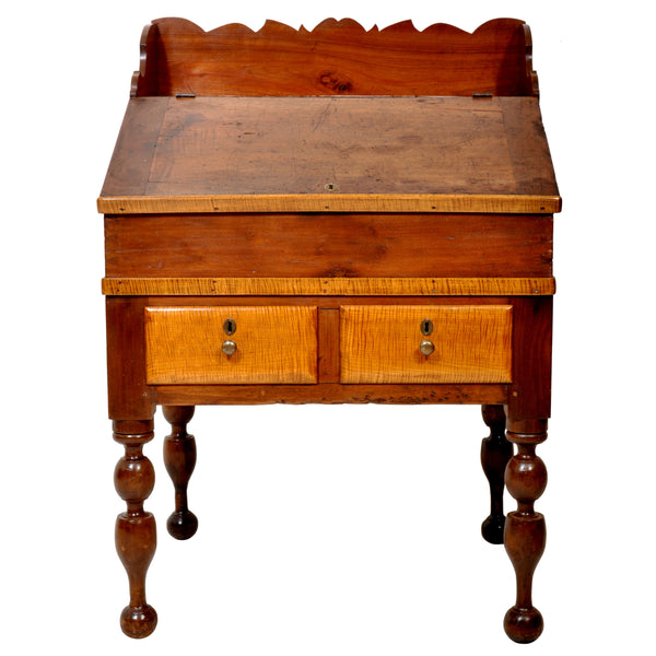 Antique Cherry and Tiger Maple New England Plantation Sheraton Desk/Secretary, circa 1820