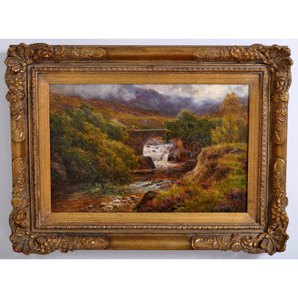 Antique 19th Century Scottish Highland Landscape Oil on Canvas Painting, Circa 1850