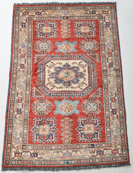 Vegetable Dyed Caucasian Style Kazak Rug with Shirvan Design