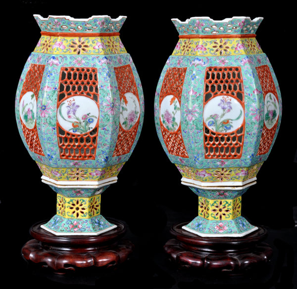 Pair of Antique Chinese Qing Dynasty Imperial Porcelain Wedding Lanterns / Vases, circa 1820