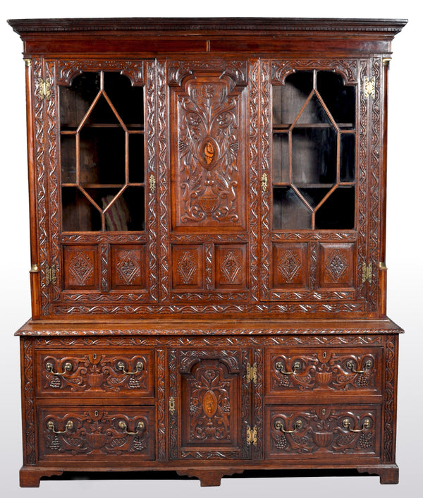Antique English Georgian Carved Oak Bookcase / Cupboard / Dresser, circa 1750