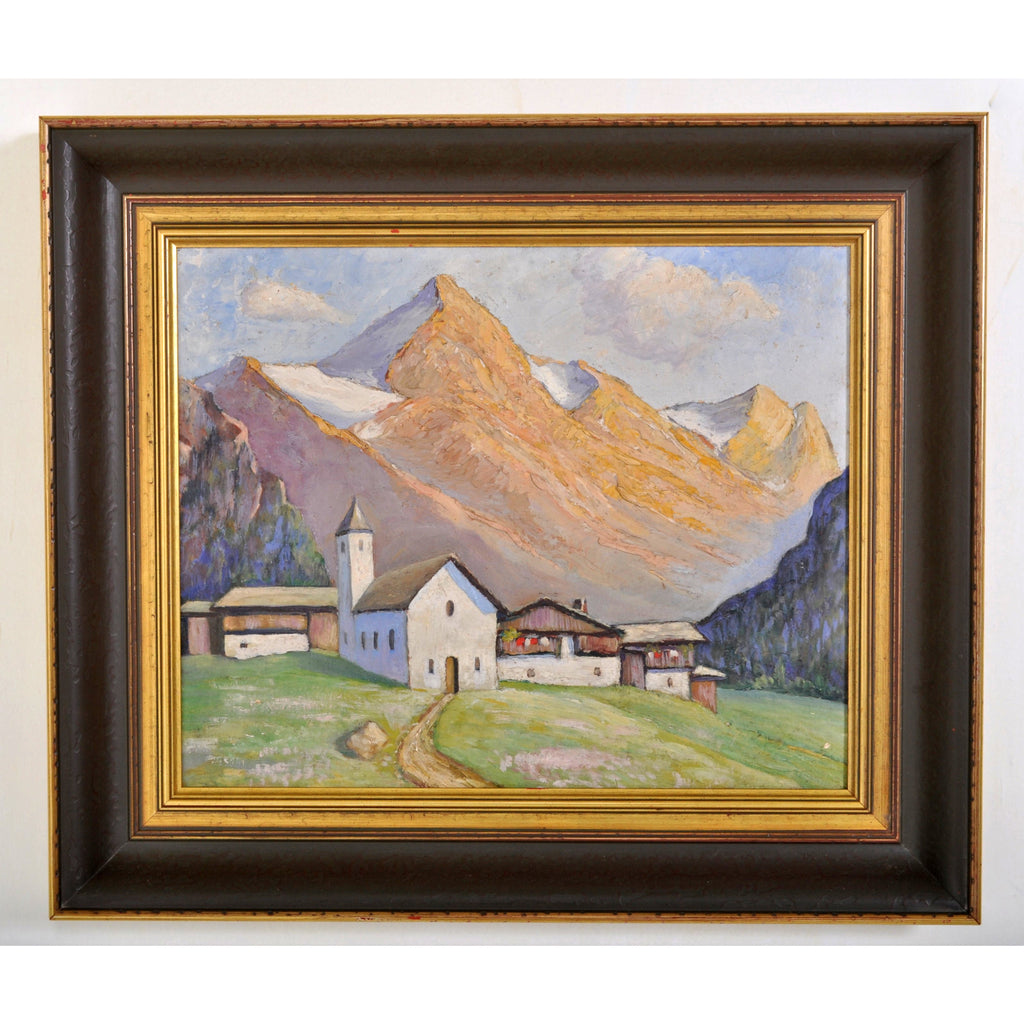 Antique Oil on Board Painting of a Swiss Chalet Mountain Landscape Scene, Circa 1900