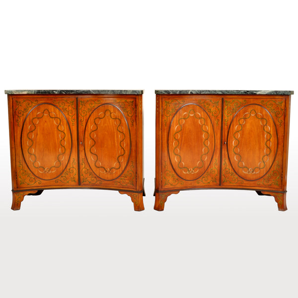 Pair of Antique Marble Top Painted Adam Revival Satinwood Commodes / Cabinets, circa 1880