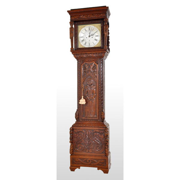 Antique Welsh Carved Oak 8-Day Longcase/Grandfather Clock by Thomas Evans, circa 1770