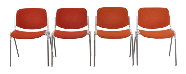 Set of 4 Italian Mid-Century Modern Stacking Chairs by Giancarlo Piretti for Castelli, 1960s
