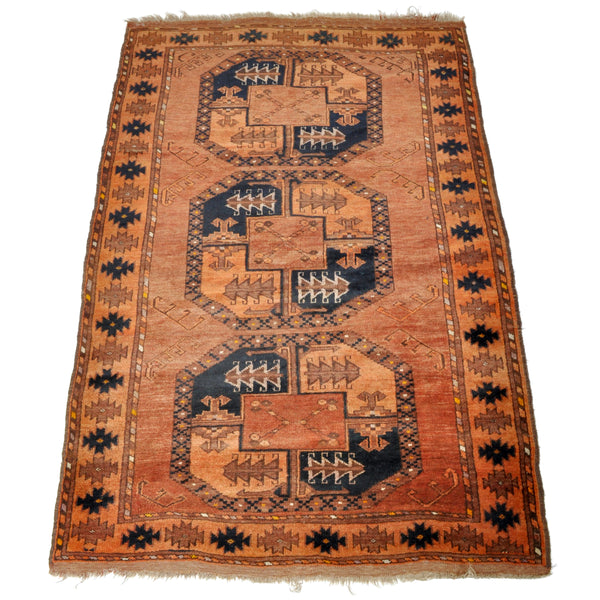 Fine Antique Ersari Turkoman Vegetable Dyed Rug, Circa 1910