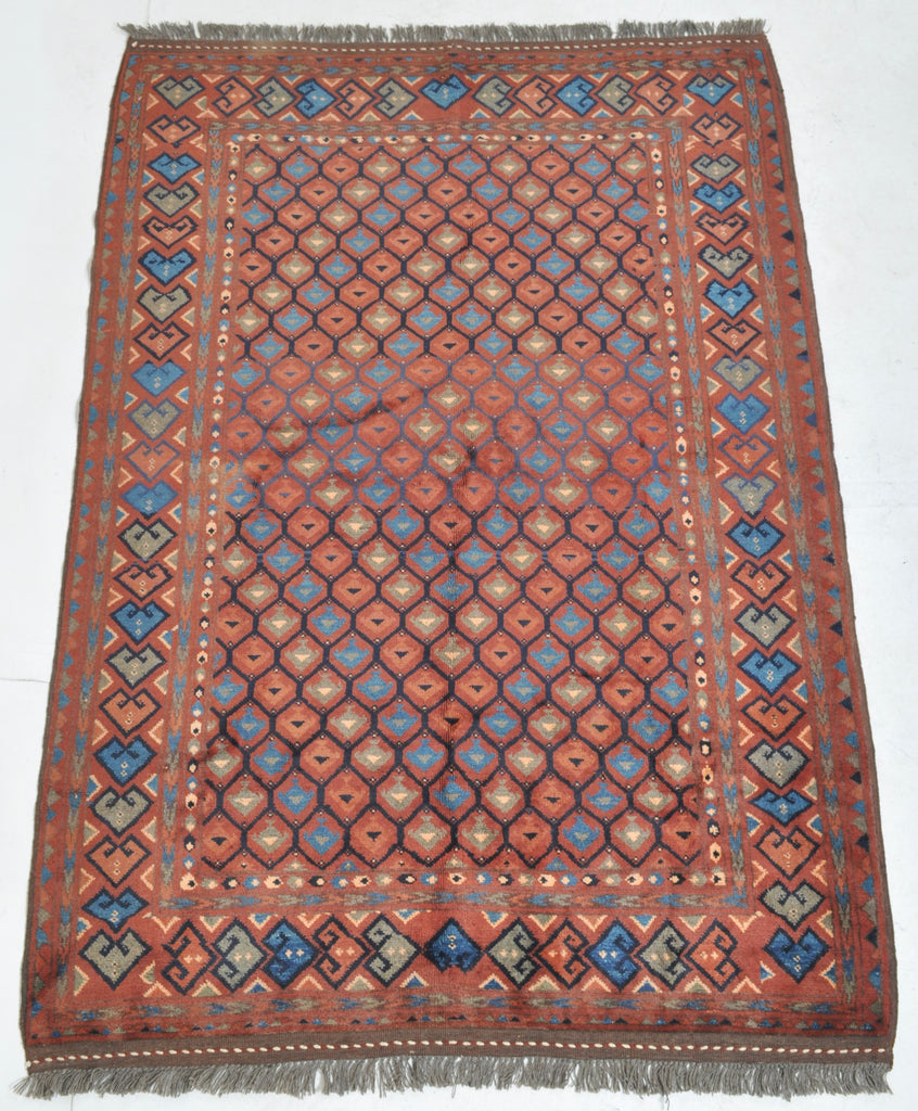 Afghan Turkoman Rug with Caucasian Design