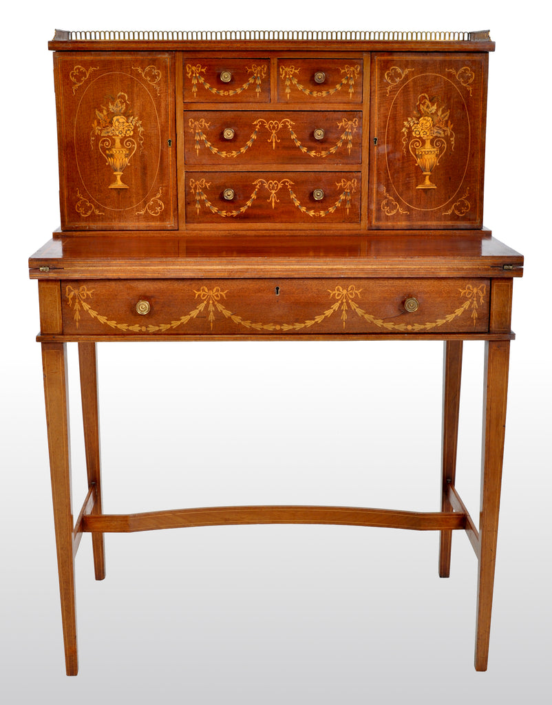 Antique Sheraton Revival Inlaid Mahogany Desk / Writing Table, circa 1895
