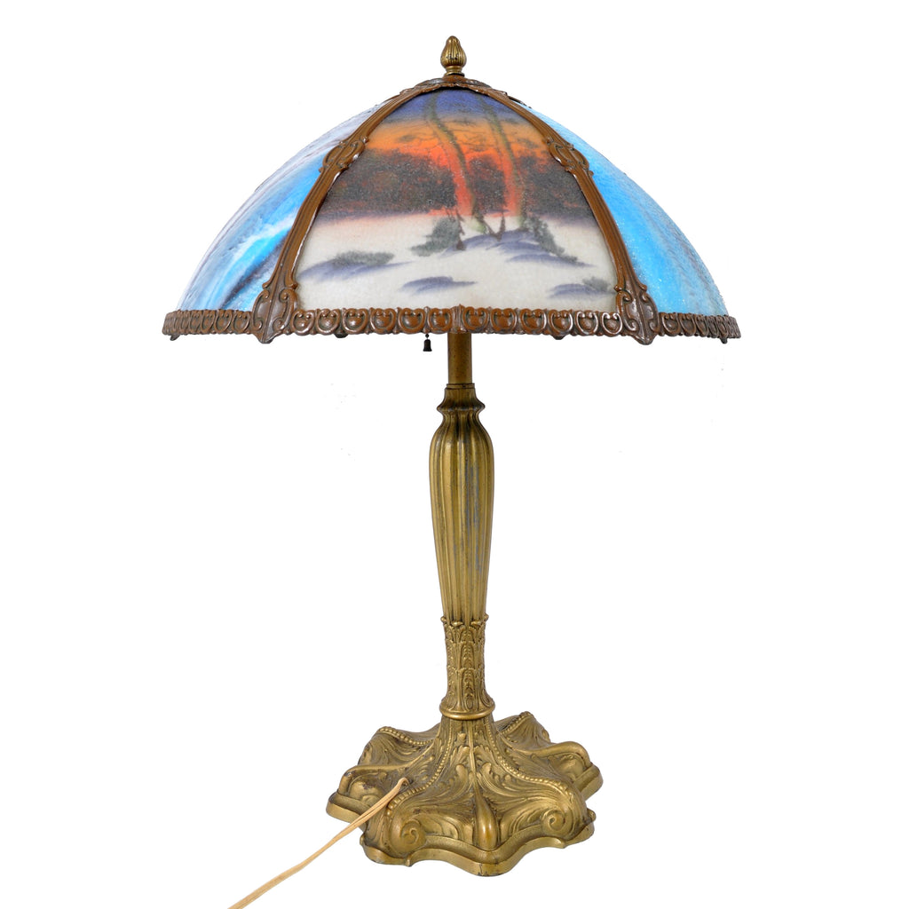 Antique American Art Nouveau Reverse Painted Landscape Table Lamp, circa 1910