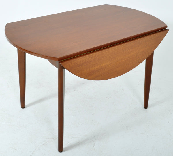 Mid-Century Modern Circular Double Drop Leaf Dining Table in Teak, 1960s