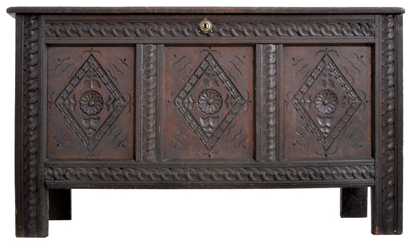 Antique Charles II Carved Oak Coffer / Chest / Blanket Chest, Circa 1680