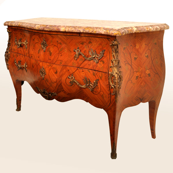 Antique 19th Century French Louis XV Inlaid Marquetry Bombe Commode / Chest, circa 1880