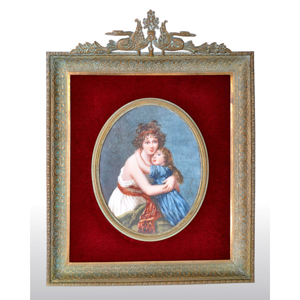 Antique French Portrait Miniature Painting, Jenny Savy, circa 1860