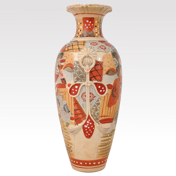 Large Antique Japanese Meiji Period Satsuma Pottery Vase, Circa 1900