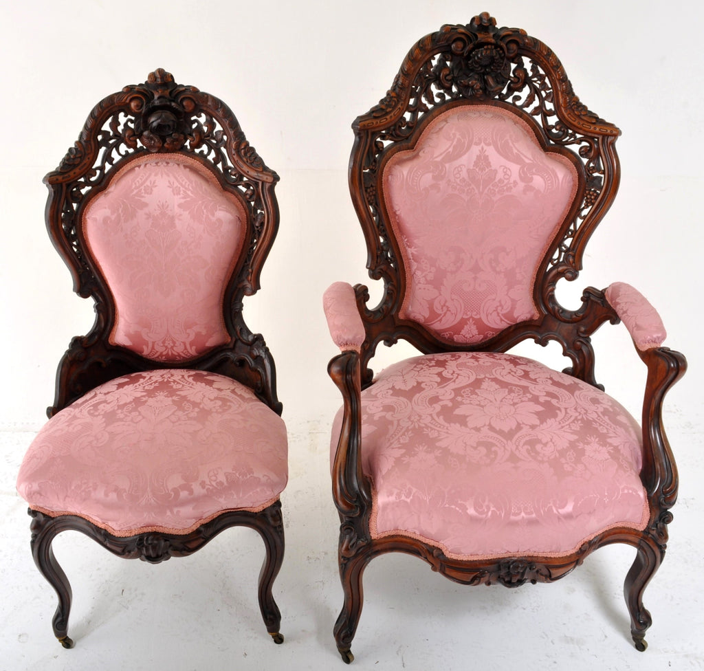 Pair of John Henry Belter of New York Carved and Laminated Rosewood Chairs, Circa 1855