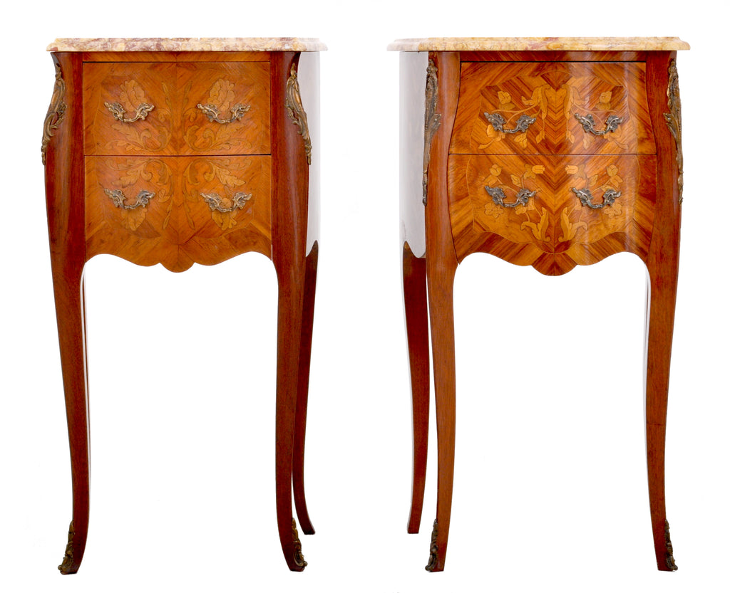 Pair of Antique French Louis XV Marble-Top and Marquetry Walnut Night Stands, Circa 1890