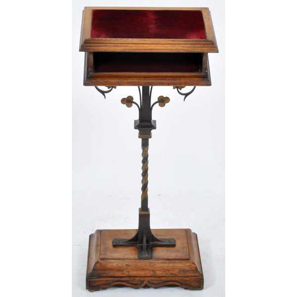 Antique English Oak and Wrought Iron Arts and Crafts Lectern/Bookrest, Circa 1890