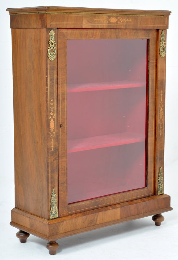 Antique Victorian Walnut Pier Display Cabinet, Circa 1880