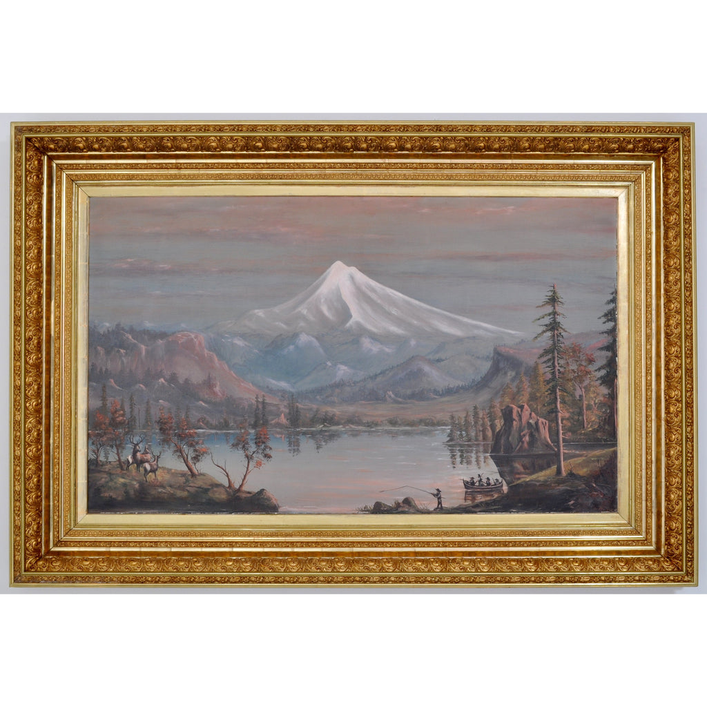 """Mount Hood, Oregon,"" Monumental Antique Oil on Canvas by Cyrus Adams Reed, Circa 1870"
