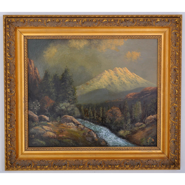 Antique Oil on Board Painting of Mount Shasta, California by the Oregon Artist Eliza Barchus (1857-1959), Circa 1910